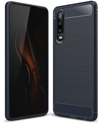 Huawei P30 Geborsteld TPU Hoesje Blauw Hoesjes