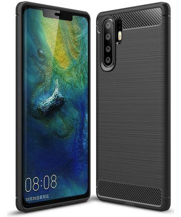 Huawei P30 Pro Geborsteld TPU Hoesje Zwart Hoesjes