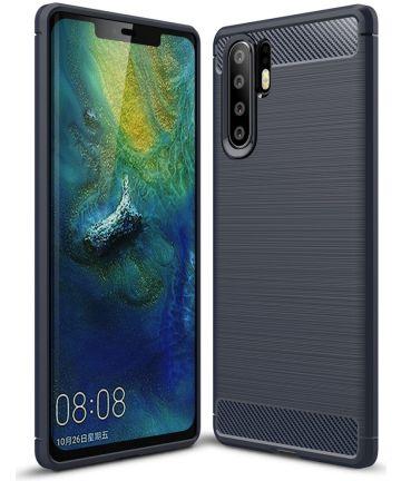 Huawei P30 Pro Geborsteld TPU Hoesje Blauw Hoesjes