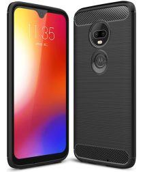 Motorola Moto G7 Geborsteld TPU Hoesje Zwart
