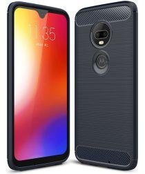 Motorola Moto G7 Geborsteld TPU Hoesje Blauw