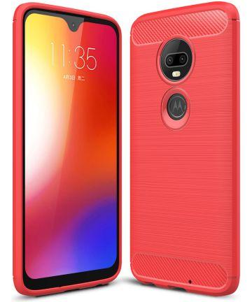 Motorola Moto G7 Geborsteld TPU Hoesje Rood