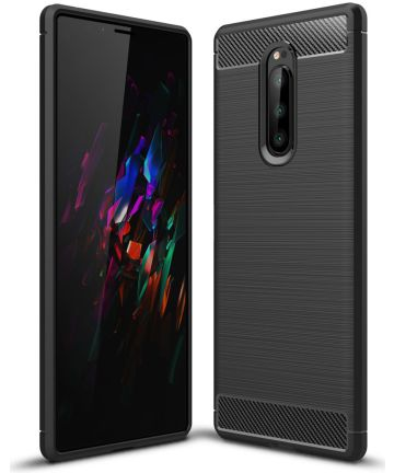Sony Xperia 1 Geborsteld TPU Hoesje Zwart Hoesjes