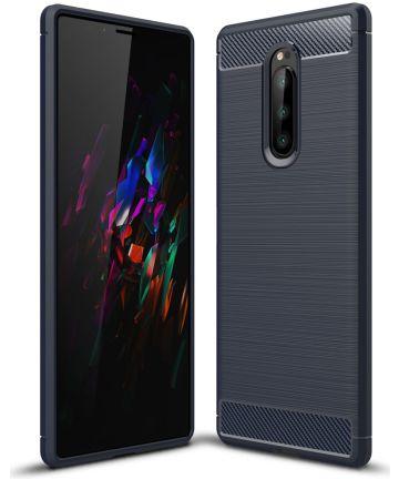 Sony Xperia 1 Geborsteld TPU Hoesje Blauw Hoesjes