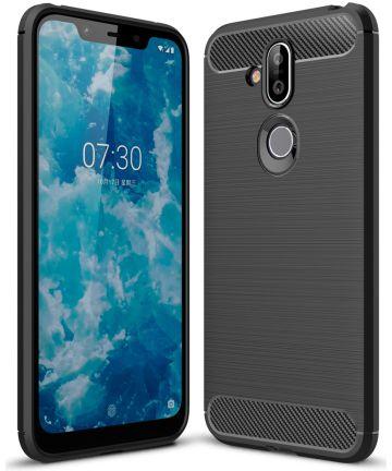 Nokia 8.1 Geborsteld TPU Hoesje Zwart Hoesjes