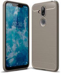 Nokia 8.1 Geborsteld TPU Hoesje Grijs