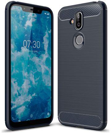 Nokia 8.1 Geborsteld TPU Hoesje Blauw Hoesjes