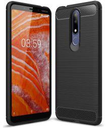 Nokia 3.1 Plus Geborsteld TPU Hoesje Zwart