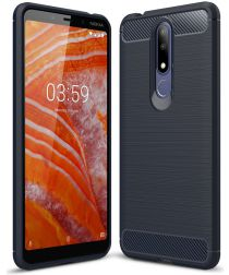 Nokia 3.1 Plus Geborsteld TPU Hoesje Blauw
