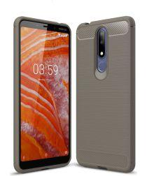 Nokia 3.1 Plus Geborsteld TPU Hoesje Grijs