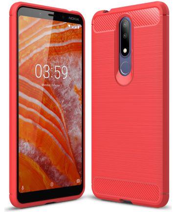 Nokia 3.1 Plus Geborsteld TPU Hoesje Rood Hoesjes