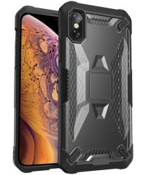 Apple iPhone XS Max Hybride Back Cover Zwart / Grijs