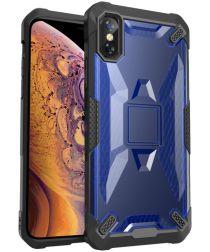 Apple iPhone XS Max Hybride Back Cover Zwart / Blauw
