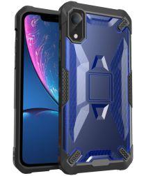 Apple iPhone XR Hybride Back Cover Zwart / Blauw