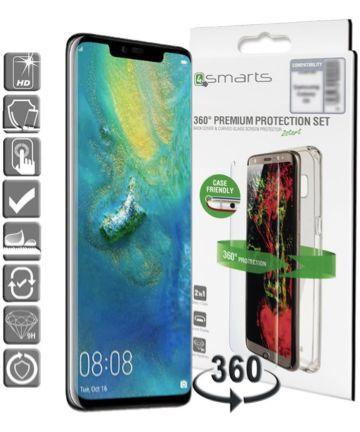 4smarts Tempered Glass + TPU Hoesje Huawei Mate 20 Pro Transparant Hoesjes