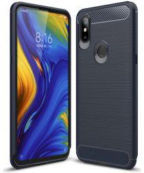 Xiaomi Mi Mix 3 Geborsteld TPU Hoesje Blauw