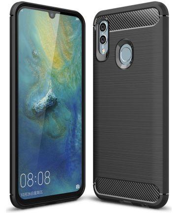 Huawei P Smart (2019) Geborsteld TPU Hoesje Zwart Hoesjes
