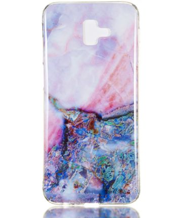 Samsung Galaxy J6 Plus TPU Hoesje met Marmer Opdruk Blauw