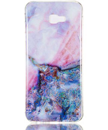 Samsung Galaxy J4 Plus TPU Hoesje met Marmer Opdruk Blauw