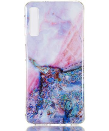 Samsung Galaxy A7 (2018) TPU Hoesje met Marmer Opdruk Blauw Hoesjes