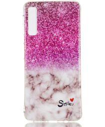Samsung Galaxy A7 (2018) TPU Hoesje met Marmer Opdruk Glitter