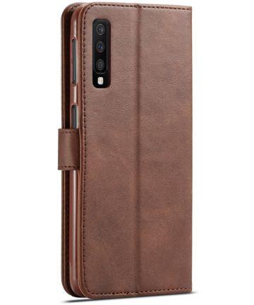 Samsung Galaxy A7 (2018) Stijlvol Portemonnee Bookcase Hoesje Coffee Hoesjes