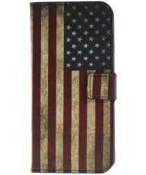 Nokia 5.1 Plus Portemonnee Hoesje met Amerikaanse Vlag Print