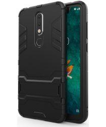 Hybride Nokia 5.1 Plus Hoesje met Standaard Zwart