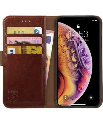 Rosso Element Apple iPhone XS / X Hoesje Book Cover Bruin Hoesjes