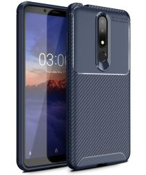 Nokia 3.1 Plus Siliconen Carbon Hoesje Blauw