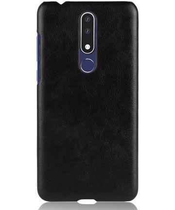 Nokia 3.1 Plus Hoesje met Kunstleer Coating Zwart