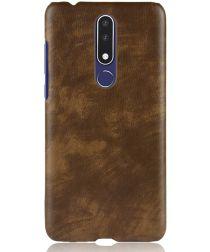 Nokia 3.1 Plus Hoesje met Kunstleer Coating Bruin