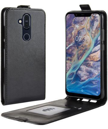 Nokia 8.1 Verticale Flip Hoesje Zwart
