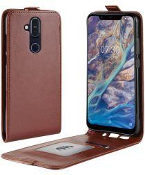 Nokia 8.1 Verticale Flip Hoesje Bruin