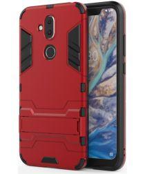 Nokia 8.1 Hybride Hoesje met Standaard Rood