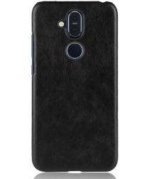 Nokia 8.1 Hoesje met Kunstleer Coating Zwart