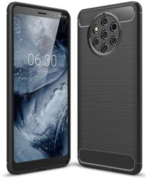 Nokia 9 PureView Geborsteld TPU Hoesje Zwart