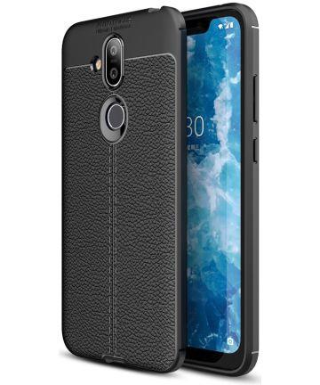 Nokia 8.1 Kunstleren Coating TPU Hoesje Zwart Hoesjes