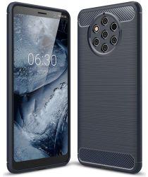 Nokia 9 PureView Geborsteld TPU Hoesje Blauw