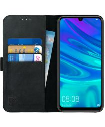 Rosso Deluxe Huawei P Smart 2019 Hoesje Echt Leer Book Case Zwart