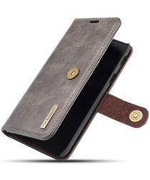 Samsung Galaxy A6 Leren 2-in-1 Bookcase en Back Cover Hoesje Grijs