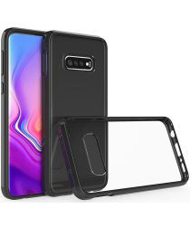 Samsung Galaxy S10E Hoesje Armor Back Cover Transparant Zwart