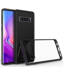 Samsung Galaxy S10 Hoesje Armor Back Cover Transparant Zwart