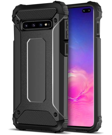 Samsung Galaxy S10 Plus Hoesje Shock Proof Hybride Back Cover Zwart Hoesjes