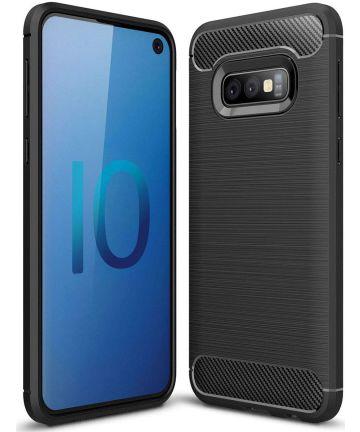 Samsung Galaxy S10E Geborsteld TPU Hoesje Zwart Hoesjes