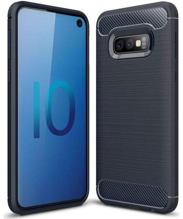Samsung Galaxy S10E Geborsteld TPU Hoesje Blauw Hoesjes