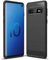 Samsung Galaxy S10 Geborsteld TPU Hoesje Zwart