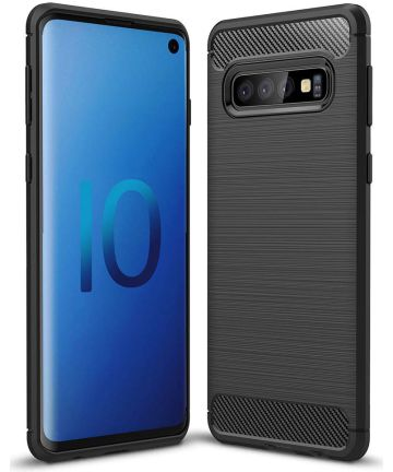 Samsung Galaxy S10 Geborsteld TPU Hoesje Zwart Hoesjes