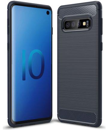 Samsung Galaxy S10 Geborsteld TPU Hoesje Blauw
