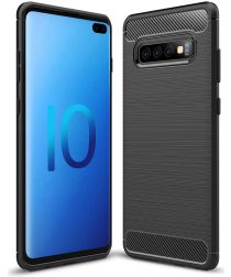 Samsung Galaxy S10 Plus Geborsteld TPU Hoesje Zwart